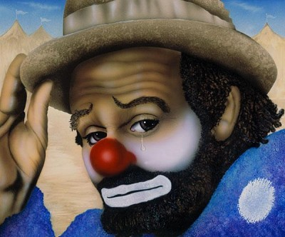Clown Giclee by Terry Wilson Image is watermarked for copyright protection and is not present on the actual art work.