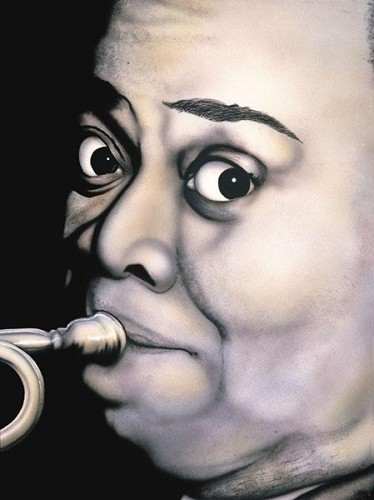 Louis Armstrong Giclee by Terry Wilson Image is watermarked for copyright protection and is not present on the actual art work.