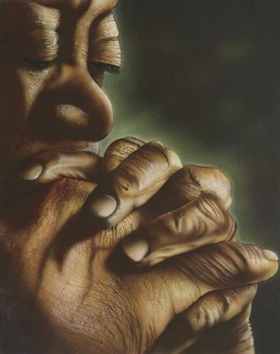 Blessed Hands Giclee by Terry Wilson Image is watermarked for copyright protection and is not present on the actual art work.