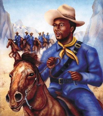 Buffalo Soldier Giclee by Terry Wilson Image is watermarked for copyright protection and is not present on the actual art work.