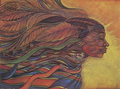 African Goddess Large Artist Proof by Charles Bibbs Image is watermarked for copyright protection and is not present on the actual art work.