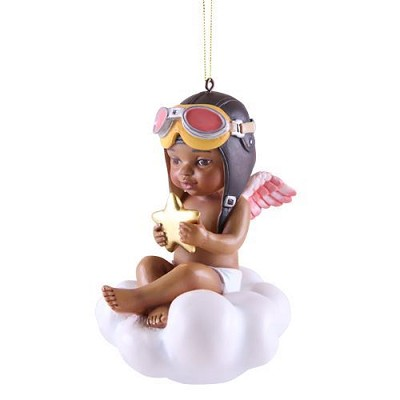 CATCHING A BLESSING GIRL ORNAMENT FOR 2017 by Thomas Blackshear Image is watermarked for copyright protection and is not present on the actual art work.