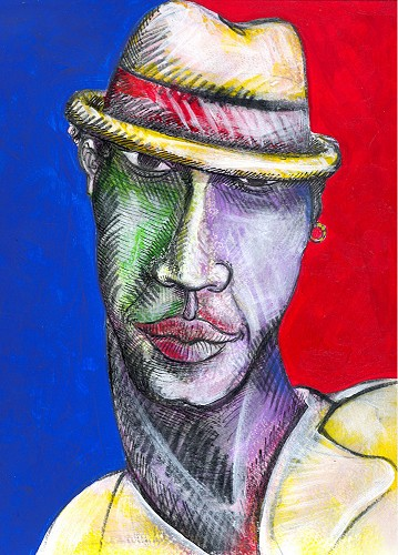 Colored Man 2 by Charles Bibbs Image is watermarked for copyright protection and is not present on the actual art work.