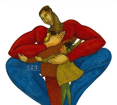Daddy Giclee by Charles Bibbs Image is watermarked for copyright protection and is not present on the actual art work.