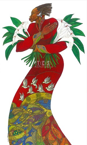 Lilies by Charles Bibbs Image is watermarked for copyright protection and is not present on the actual art work.