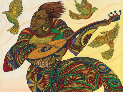 The Music Maker 3 Giclee On Paper by Charles Bibbs Image is watermarked for copyright protection and is not present on the actual art work.