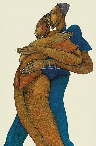 Love Dance Giclee Remarque by Charles Bibbs Image is watermarked for copyright protection and is not present on the actual art work.