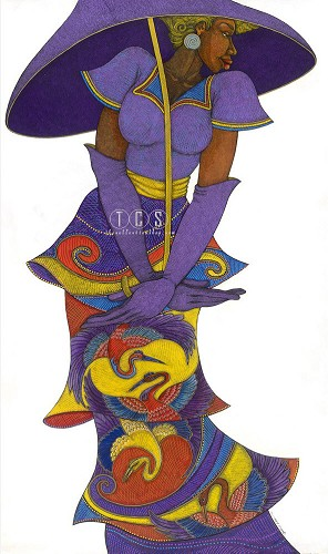 The Purple Umbrella Giclee Remarque On Canvas by Charles Bibbs Image is watermarked for copyright protection and is not present on the actual art work.
