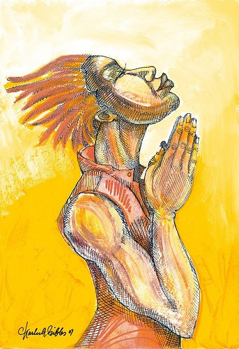 The Prayer by Charles Bibbs Image is watermarked for copyright protection and is not present on the actual art work.
