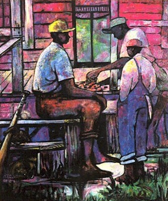 Afternoon Checkers Artist Signed Lithograph by William Tolliver Image is watermarked for copyright protection and is not present on the actual art work.
