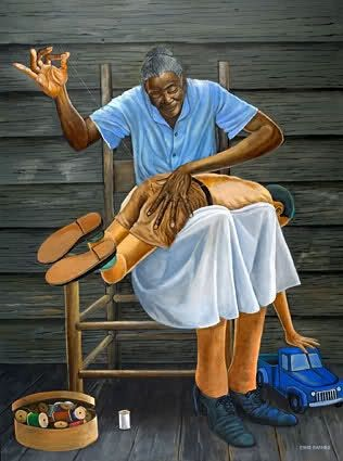 Grandma's Hands by Ernie Barnes Image is watermarked for copyright protection and is not present on the actual art work.