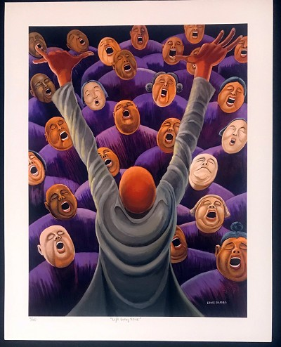 Lift Every Voice by Ernie Barnes Image is watermarked for copyright protection and is not present on the actual art work.