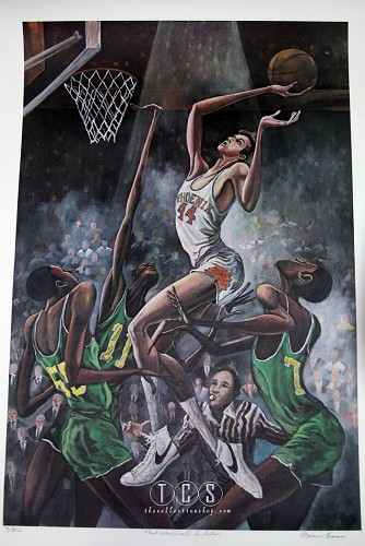 Paul Westphall In Action by Ernie Barnes Image is watermarked for copyright protection and is not present on the actual art work.
