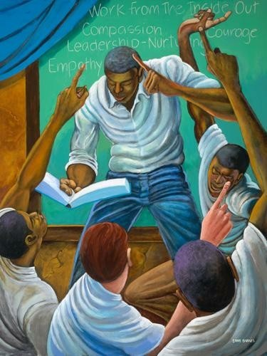 Each One, Teach One  by Ernie Barnes Image is watermarked for copyright protection and is not present on the actual art work.