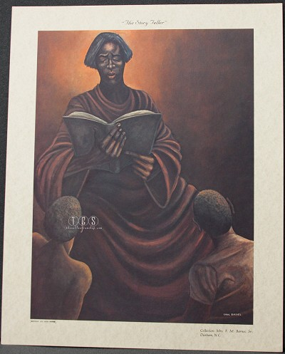 The Story Teller Lithograph by Ernie Barnes Image is watermarked for copyright protection and is not present on the actual art work.