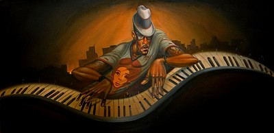 GRAND MASTER JAZZ by Frank Morrison Image is watermarked for copyright protection and is not present on the actual art work.