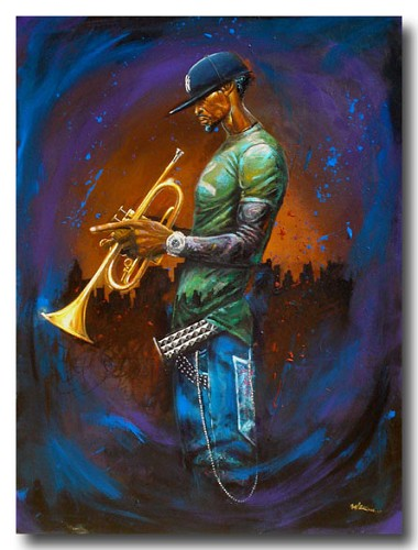 Blue Notes Remarque by Frank Morrison Image is watermarked for copyright protection and is not present on the actual art work.