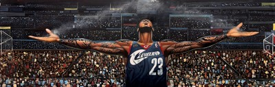 THE RETURN OF THE KING LEBRON JAMES by Frank Morrison Image is watermarked for copyright protection and is not present on the actual art work.