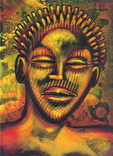 Feed The Fire  Giclee  Re 12 by Larry Poncho Brown Image is watermarked for copyright protection and is not present on the actual art work.