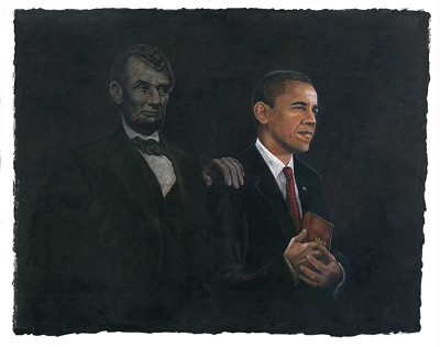 Barack Obama & Abraham Lincoln Giclee On Canvas by Gamboa Image is watermarked for copyright protection and is not present on the actual art work.