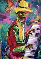 Piano Man by Ted Ellis Image is watermarked for copyright protection and is not present on the actual art work.