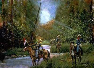 Buffalo Soldiers On Patrol by Ted Ellis Image is watermarked for copyright protection and is not present on the actual art work.