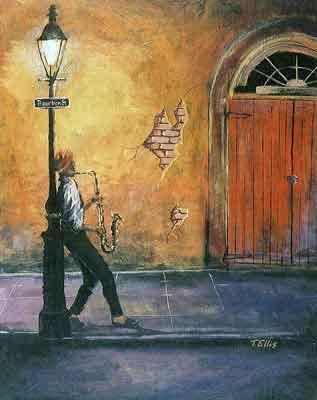 Bourbon Street by Ted Ellis Image is watermarked for copyright protection and is not present on the actual art work.