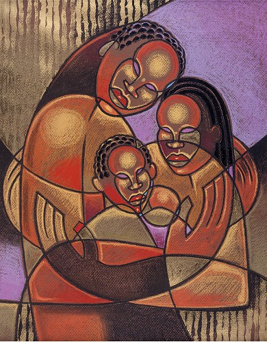 Interlocked Family Giclee  Re 12 by Larry Poncho Brown Image is watermarked for copyright protection and is not present on the actual art work.