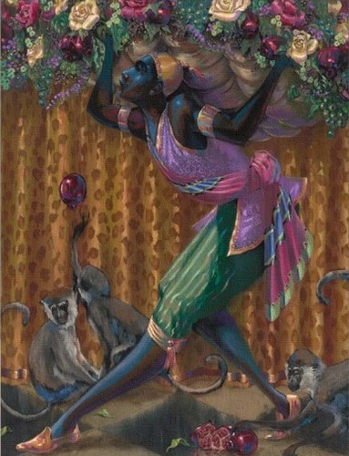 BLACKAMOOR WITH MONKEYS by John Holyfield Image is watermarked for copyright protection and is not present on the actual art work.