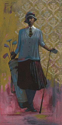 Vintage Golfer Female Medium by John Holyfield Image is watermarked for copyright protection and is not present on the actual art work.
