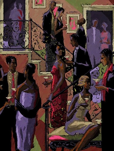SOCIALITES by John Holyfield Image is watermarked for copyright protection and is not present on the actual art work.
