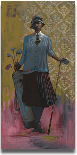 Vintage Golfer (Female) by John Holyfield Image is watermarked for copyright protection and is not present on the actual art work.