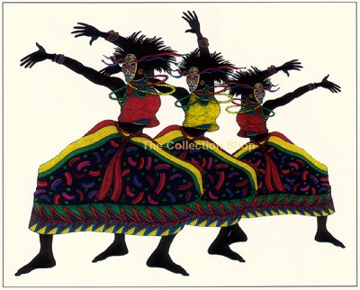 Moja Dance Giclee by Charles Bibbs Image is watermarked for copyright protection and is not present on the actual art work.