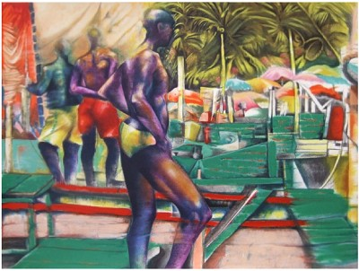 Brazilian Boat Men Serigraph by Paul Goodnight Image is watermarked for copyright protection and is not present on the actual art work.