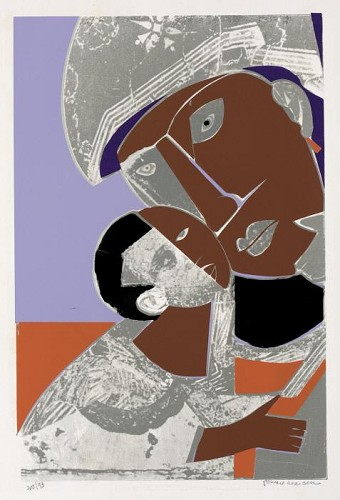 Mother and Child 1972 Screenprint on paper by Romare Bearden Image is watermarked for copyright protection and is not present on the actual art work.