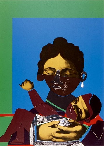Mother and Child Serigraph by Romare Bearden Image is watermarked for copyright protection and is not present on the actual art work.