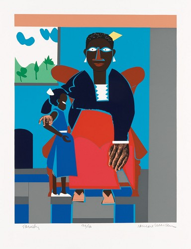 Family (Mother and Child) Serigraph by Romare Bearden Image is watermarked for copyright protection and is not present on the actual art work.