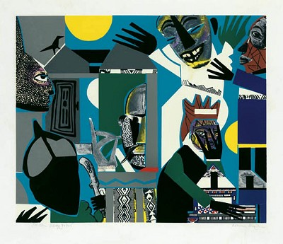 Sorcerers Village Serigraph by Romare Bearden Image is watermarked for copyright protection and is not present on the actual art work.