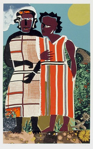 Two Women Serigraph by Romare Bearden Image is watermarked for copyright protection and is not present on the actual art work.