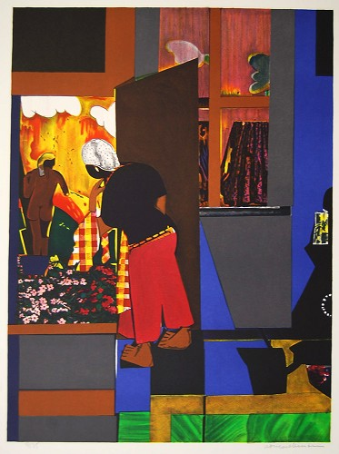 Open Door Artist Signed by Romare Bearden Image is watermarked for copyright protection and is not present on the actual art work.