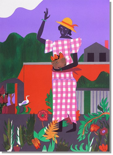 Girl In The Garden Artist Signed by Romare Bearden Image is watermarked for copyright protection and is not present on the actual art work.