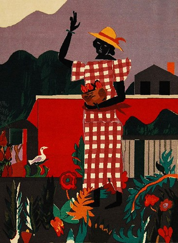 Girl in the Garden Tapestry  Hand Woven Textile  1989 by Romare Bearden Image is watermarked for copyright protection and is not present on the actual art work.
