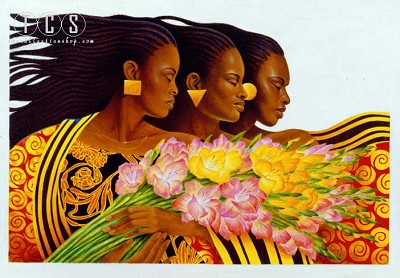 Three Sisters Remarque by Keith Mallett Image is watermarked for copyright protection and is not present on the actual art work.