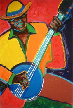 Banjo Blues by Ted Ellis Image is watermarked for copyright protection and is not present on the actual art work.