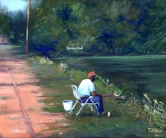 Fishin from the Side of the Road by Ted Ellis Image is watermarked for copyright protection and is not present on the actual art work.