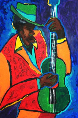 Guitar Blues by Ted Ellis Image is watermarked for copyright protection and is not present on the actual art work.