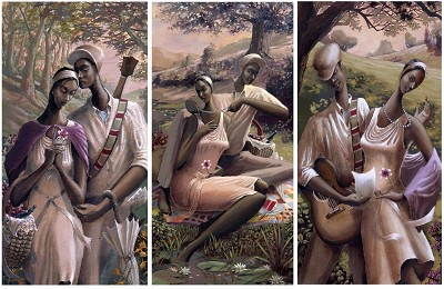 A Kiss / Pearls / The Dance Love Trilogy Matched Numbered Set by John Holyfield Image is watermarked for copyright protection and is not present on the actual art work.