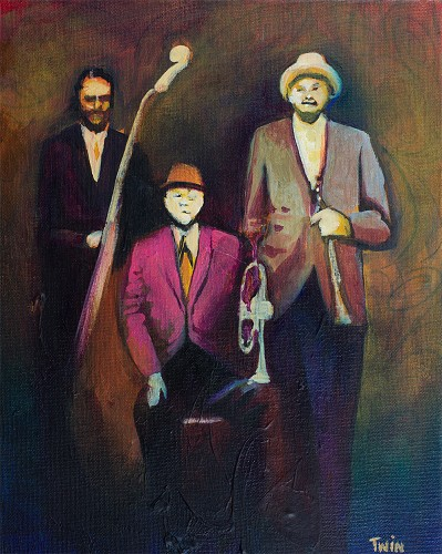 Blues Trio by (Twin) Jerry Lynn and Terry Lynn Image is watermarked for copyright protection and is not present on the actual art work.