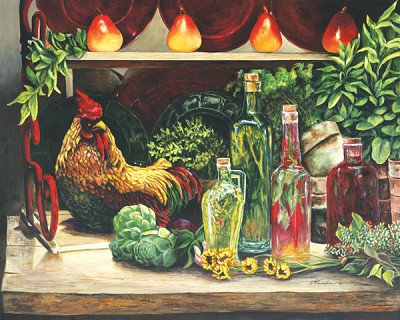 Rooster & Oils by Gamboa Image is watermarked for copyright protection and is not present on the actual art work.