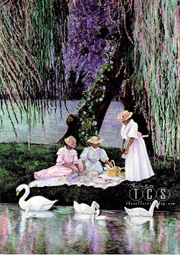 Swans Picnic by Gamboa Image is watermarked for copyright protection and is not present on the actual art work.